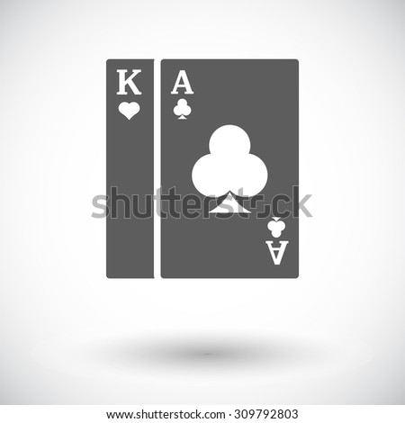 Play card. Single flat icon on white background. Vector illustration. - stock vector