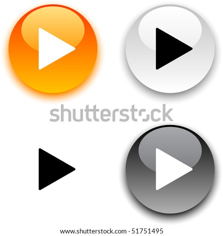 Play glossy round vector buttons. - stock vector