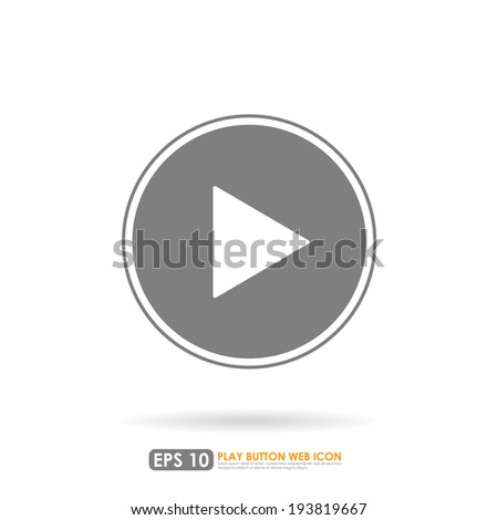 Play icon in circle on white background - stock vector