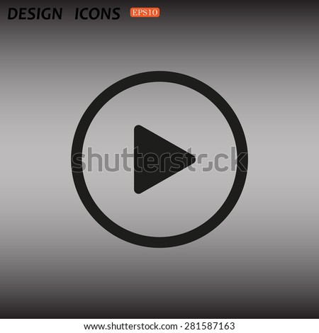 play. icon. vector design - stock vector