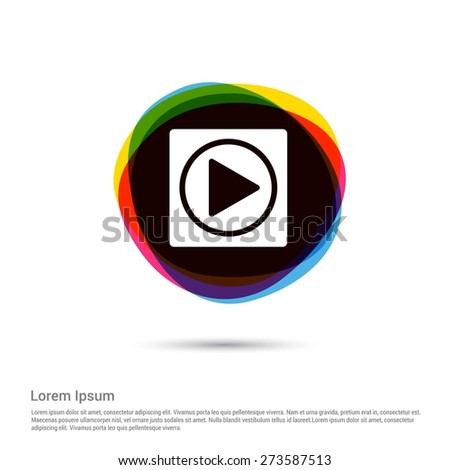 Play Icon, White pictogram icon creative circle Multicolor background. Vector illustration. Flat icon design style - stock vector