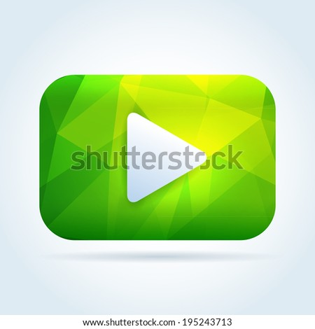 Play media button icon with triangle abstract pattern - stock vector