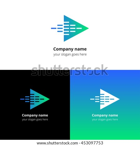 Play music sound and equalizer beat fast motion flat logo icon vector template. Abstract symbol and button with blue-green gradient for music service or company. - stock vector