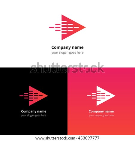 Play music sound and equalizer beat fast motion flat logo icon vector template. Abstract symbol and button with red-pink gradient for music service or company. - stock vector