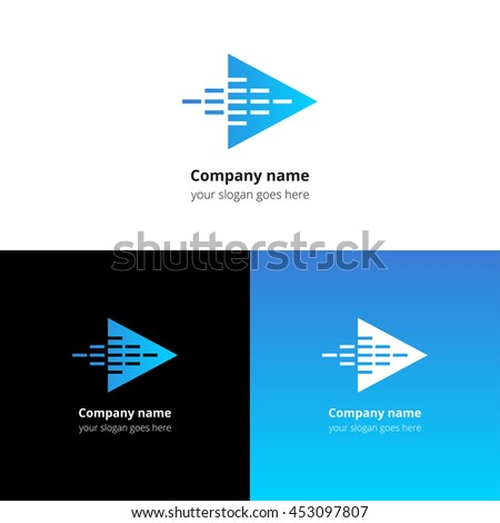 Play music sound and equalizer beat fast motion flat logo icon vector template. Abstract symbol and button with blue gradient for music service or company. - stock vector