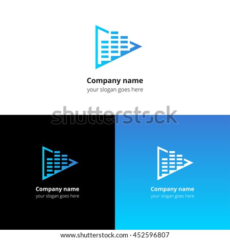 Play music sound and equalizer beat flat logo icon vector template. Abstract symbol and button with blue gradient for music service or company. - stock vector