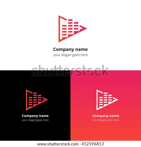 Play music sound and equalizer beat flat logo icon vector template. Abstract symbol and button with red-pink gradient for music service or company. - stock vector