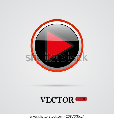 play   on a light background with shadow, vector, EPS 10 - stock vector