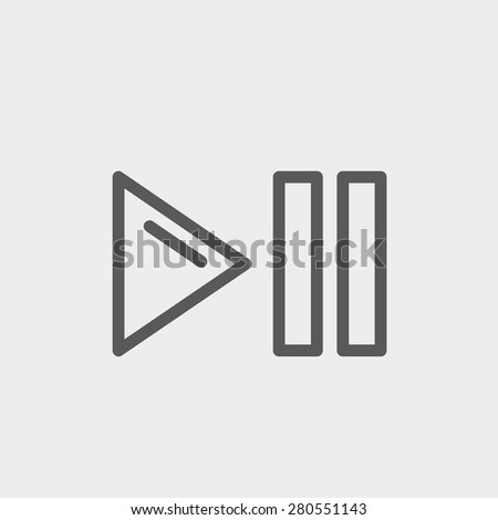 Play, pause button icon thin line for web and mobile, modern minimalistic flat design. Vector dark grey icon on light grey background. - stock vector