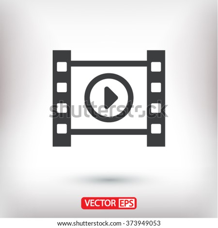 Play the film  icon, play the film  vector icon, play the film  icon illustration, play the film  icon eps, play the film  icon jpeg, play the film  icon picture, play the film  flat icon - stock vector
