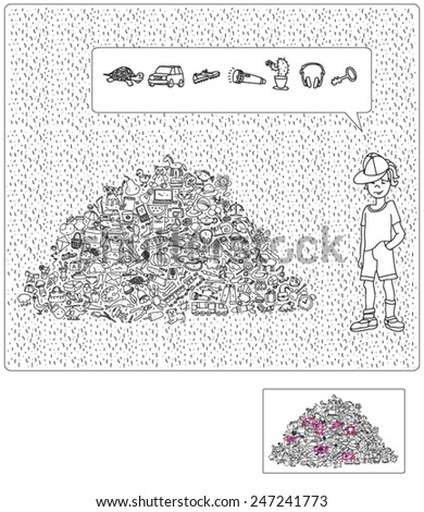 Play the Hidden Object Game, Help the boy - stock vector