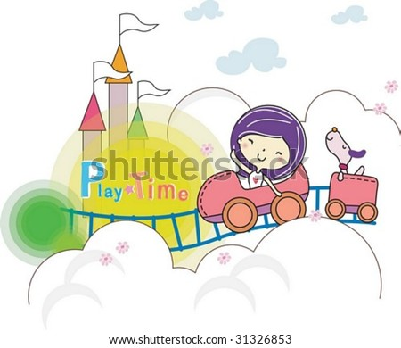 Play Time - enjoying exciting rides with a lovely young girl and a cute puppy in the amusement park on joyful holiday on white background : vector illustration - stock vector