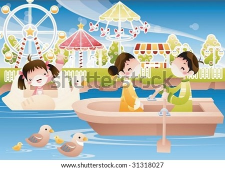 Play Time - enjoying water rides with lovely young girl and cute boy in the amusement park on joyful holiday on background with bright blue sky and beautiful calm lake : vector illustration - stock vector