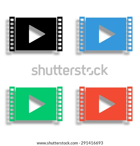 play video icon with shadow - colored vector set - stock vector