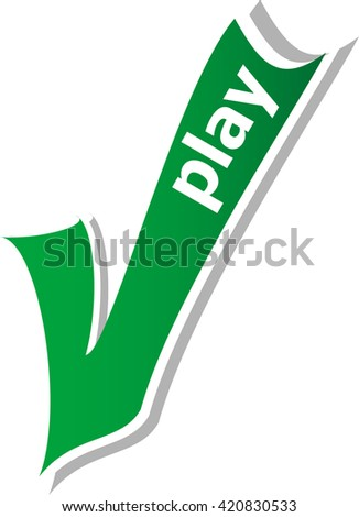play word on green check mark symbol and icon for approved design concept and web graphic on white background.green check mark. vector check mark button. check mark icon - stock vector