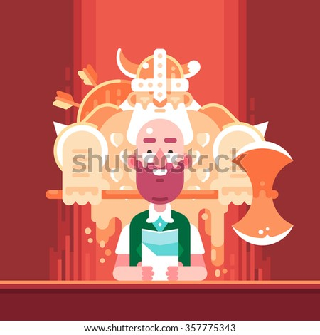 Player and his Character in Role Playing Game. Vector Flat Illustration. - stock vector