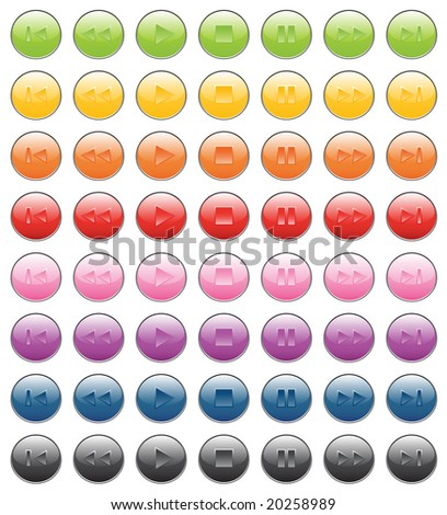 Player bottons. Green, yellow, orange, red, pink, purple, blue, gray, black colors. - stock vector