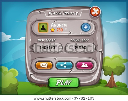 Player Profile With Options For Game Ui/ Illustration of a funny cartoon design stone player profile panel, with status, ranking, score and communication buttons, for game ui and app on tablet pc - stock vector