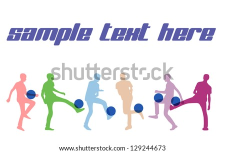 Players silhouettes,soccer, football. - stock vector
