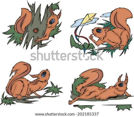 Playful comic squirrels. Set of vector illustrations. - stock vector