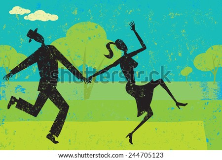 Playful Dancers A couple playfully dancing over an abstract background. The people and background are on separate labeled layers. - stock vector