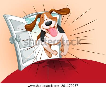 Playful pet running inside the house  - stock vector