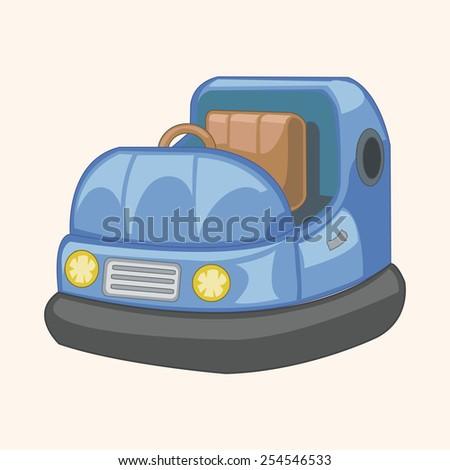 playground bumper car theme elements - stock vector