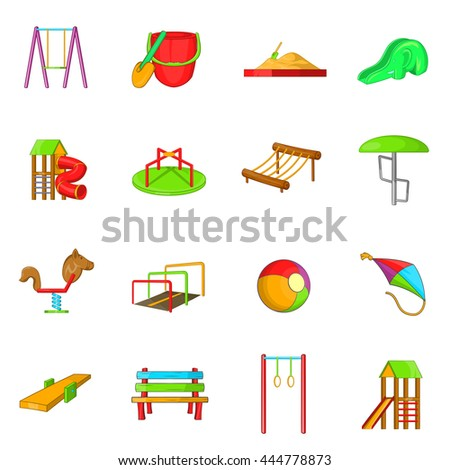Playground icons set in cartoon style isolated on white background - stock vector