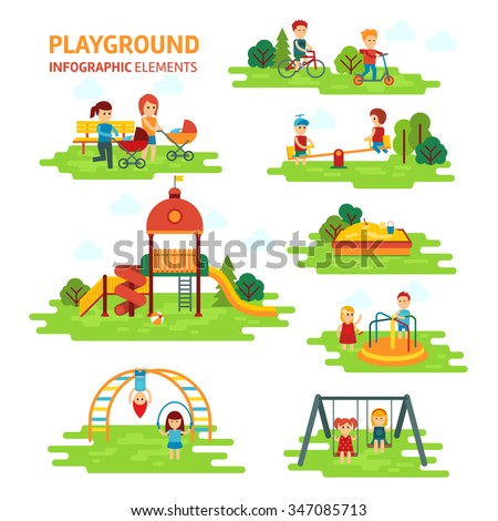 Playground infographic elements vector flat illustration, children play on the outdoors, in the sandbox, boys and girls go for a drive on a swing. Mom walking with children - stock vector