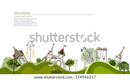 Playground, Kids play town illustration - stock vector