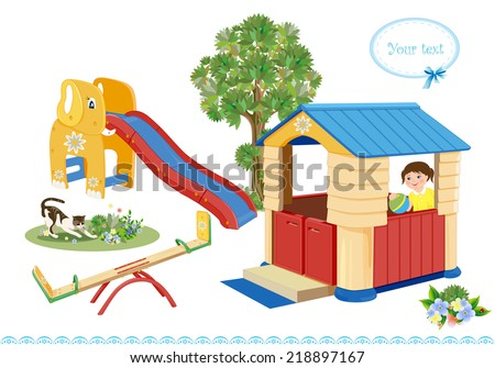 Playground. Seesaw, slider and house. - stock vector