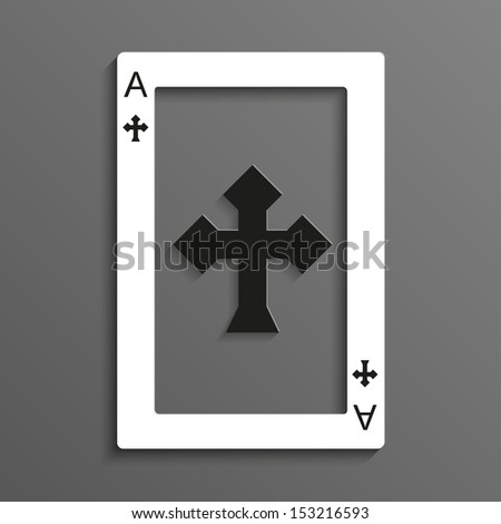 Playing card rustrakehner color crosses ace - stock vector
