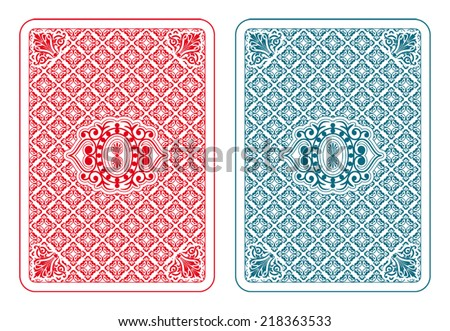 Playing cards back two colors - beta version - stock vector