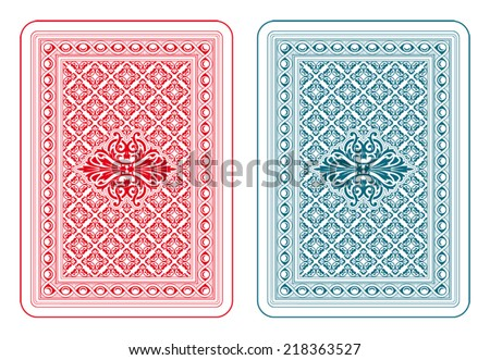 Playing cards back two colors - delta version - stock vector