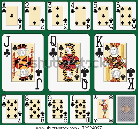 Playing cards, club suit, joker and back. Faces double sized. Green background in a separate level  - stock vector