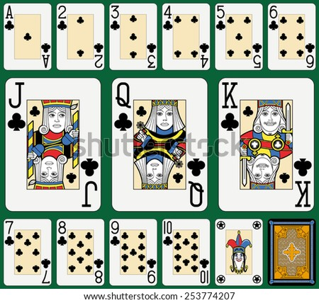 Playing cards, clubs suite, joker and back. Faces double sized. Green background. - stock vector