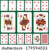 Playing cards diamond suit, joker and back. Faces double sized. Green background in a separate level  - stock vector