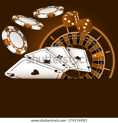 Playing cards, dice, chips and roulette. - stock vector