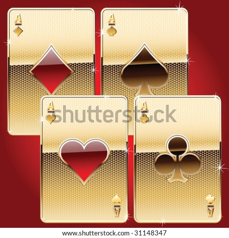 playing cards gold style - stock vector