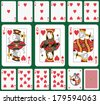 Playing cards heart suit, joker and back. Faces double sized. Green background in a separate level  - stock vector