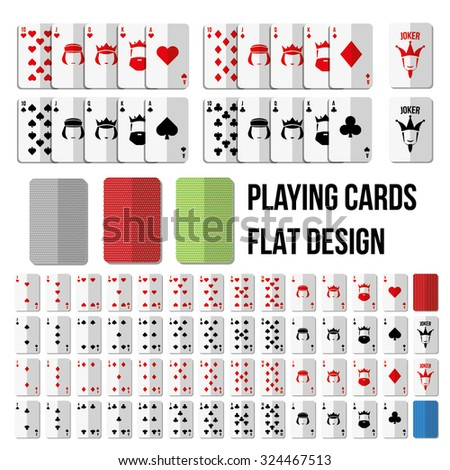 Playing cards in flat style. Full set with two jokers - stock vector