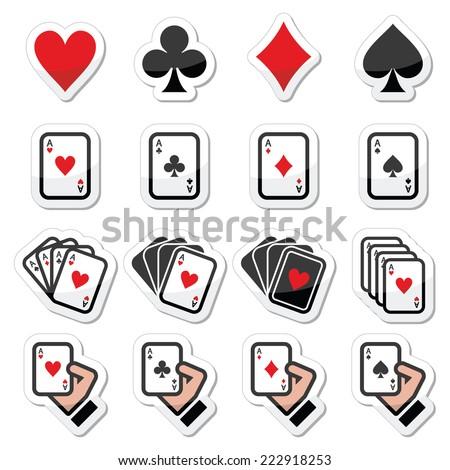 Playing cards, poker, gambling icons set - stock vector