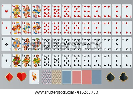 Playing cards set, Poker set, Poker cards full set,  playing cards vector,  playing card back,  Poker cards icon,  poker cards,  poker,  playing cards vector, Poker cards isolated - stock vector