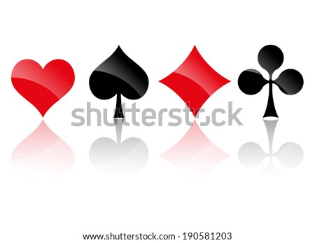 Playing cards symbols with Reflection - stock vector