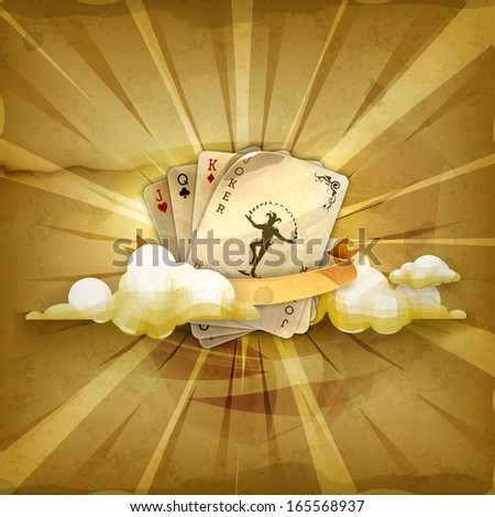 Playing cards with a joker, old style vector background - stock vector