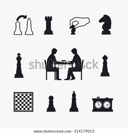 Playing chess icons. Chess players silhouettes at the table with chessboard - stock vector