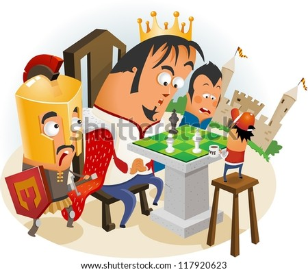 Playing Chess with King. Vector - stock vector