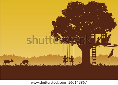 Playing children silhouette at park, vector - stock vector