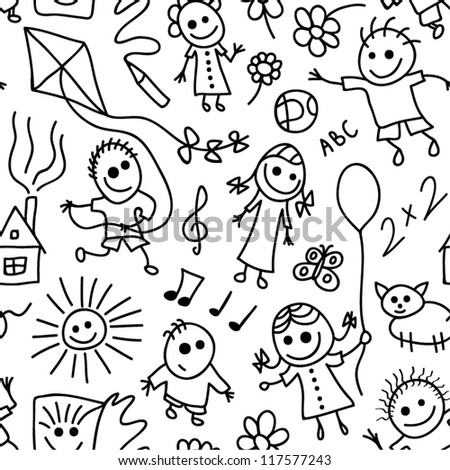 Playing children vector seamless pattern. - stock vector