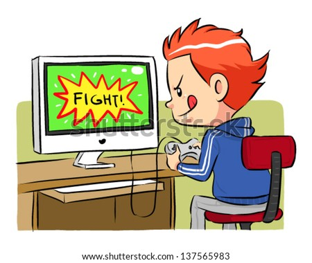 Playing Computer Games A boy playing computer games using joystick controller. Vector EPS8 file. - stock vector